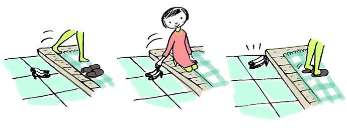 スリッパが用意されている場合は、スリッパの横に上がり、靴をそろえ終えてからはく。
